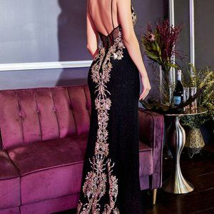 Fitted Lace Back Glittery Prom Dress Black 856